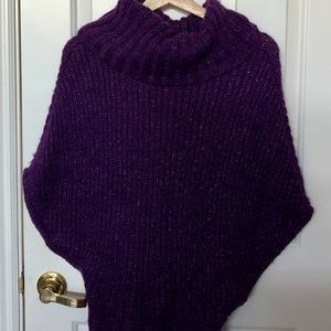 BEBE purple turtleneck batwing sleeve sweater